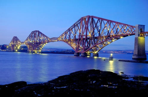 Forth Bridge and Firth of Forth at night, Scotland, UK